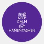 KEEP CALM AND EAT HAMENTASHEN ROUND STICKER