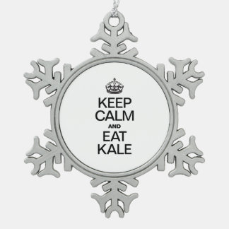 KEEP CALM AND EAT KALE PEWTER SNOWFLAKE DECORATION