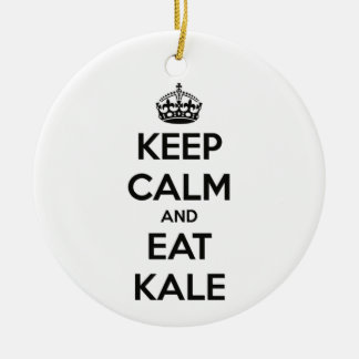 KEEP CALM AND EAT KALE ROUND CERAMIC DECORATION