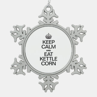 KEEP CALM AND EAT KETTLE CORN SNOWFLAKE PEWTER CHRISTMAS ORNAMENT