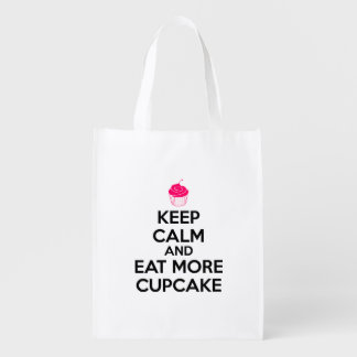 Keep Calm And Eat More Cupcake Reusable Grocery Bag