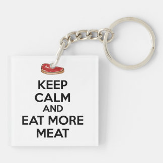 Keep Calm And Eat More Meat Double-Sided Square Acrylic Key Ring