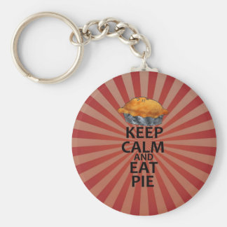 Keep Calm and Eat Pie Basic Round Button Key Ring