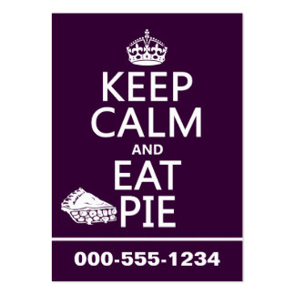 Keep Calm and Eat Pie (customize colors) Pack Of Chubby Business Cards
