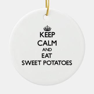 Keep calm and eat Sweet Potatoes Ceramic Ornament