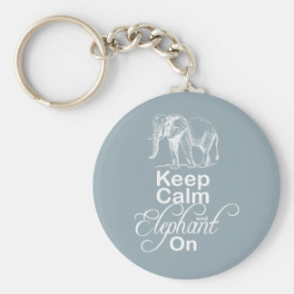 Keep calm and Elephant On Elephants Gift Item Blue Basic Round Button Key Ring