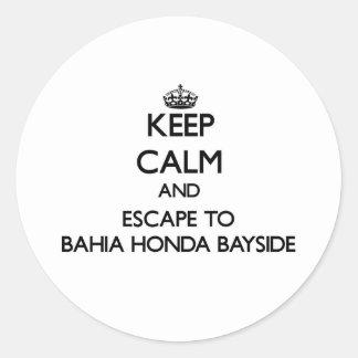 Keep calm and escape to Bahia Honda Bayside Florid Round Stickers