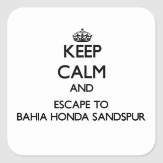 Keep calm and escape to Bahia Honda Sandspur Flori Square Sticker