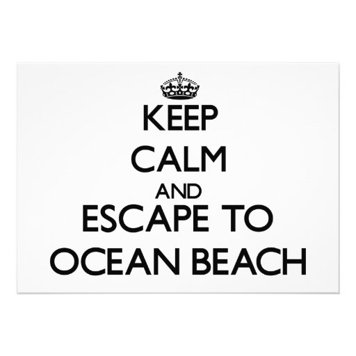 Keep calm and escape to Ocean Beach New York Personalized Invite