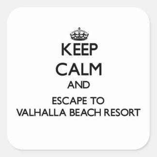 Keep calm and escape to Valhalla Beach Resort Flor Square Stickers