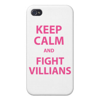 Keep Calm and Fight Villians iPhone 4 Case