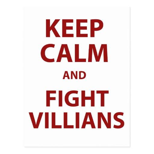 Keep Calm and Fight Villians Postcard