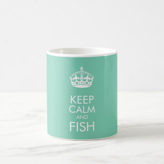 Keep calm and fish - customise text and colour coffee mug