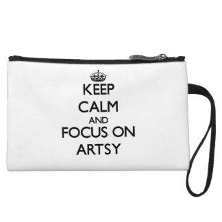 Keep Calm And Focus On Artsy Wristlet Purses