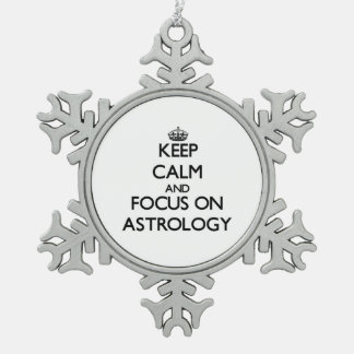 Keep Calm And Focus On Astrology Pewter Snowflake Decoration