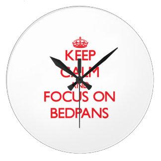 Keep Calm and focus on Bedpans Wallclock