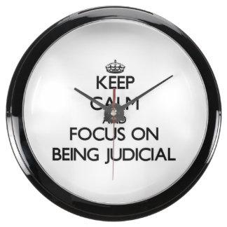 Keep Calm and focus on Being Judicial Fish Tank Clock