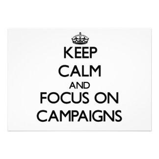 Keep Calm and focus on Campaigns Custom Invitation