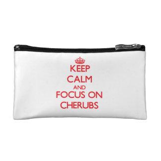 Keep Calm and focus on Cherubs Makeup Bag