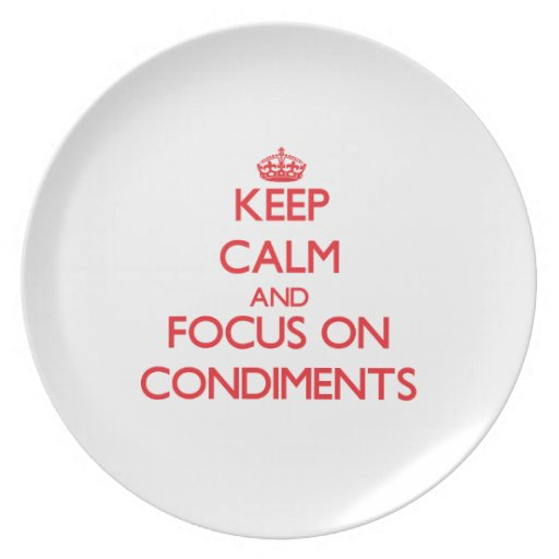 Keep Calm and focus on Condiments Dinner Plates