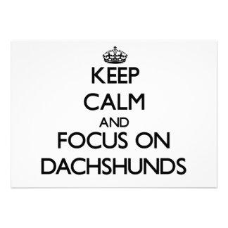 Keep Calm and focus on Dachshunds Custom Invites