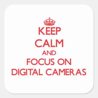 Keep Calm and focus on Digital Cameras Square Sticker