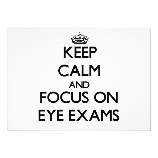 Keep Calm and focus on EYE EXAMS Announcement