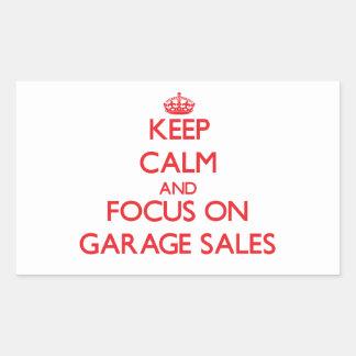 Keep Calm and focus on Garage Sales Rectangular Sticker