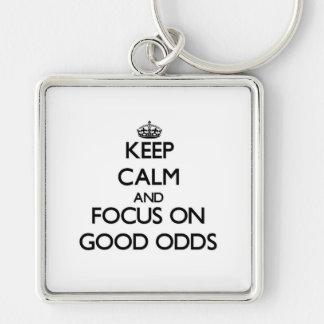Keep Calm and focus on Good Odds Keychain
