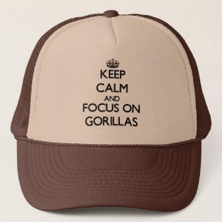 Keep calm and focus on Gorillas Trucker Hat