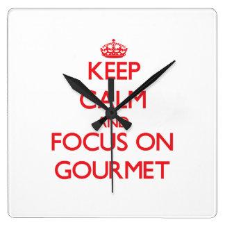 Keep Calm and focus on Gourmet Wallclock