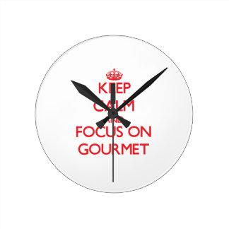 Keep Calm and focus on Gourmet Round Clocks