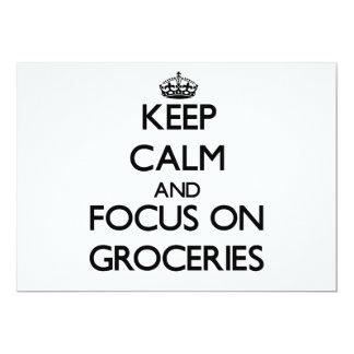 Keep Calm and focus on Groceries 13 Cm X 18 Cm Invitation Card
