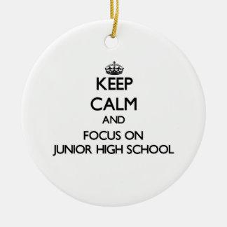Keep Calm and focus on Junior High School Ornament