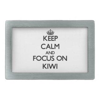 Keep Calm and focus on Kiwi Rectangular Belt Buckles