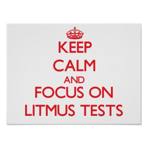 Keep Calm and focus on Litmus Tests Poster