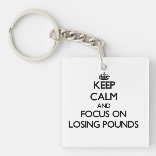 Keep Calm and focus on Losing Pounds Acrylic Keychain