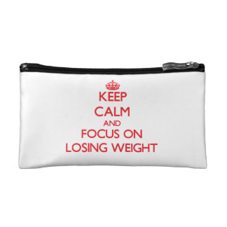 Keep Calm and focus on Losing Weight Makeup Bag