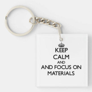 Keep calm and focus on Materials Square Acrylic Keychains