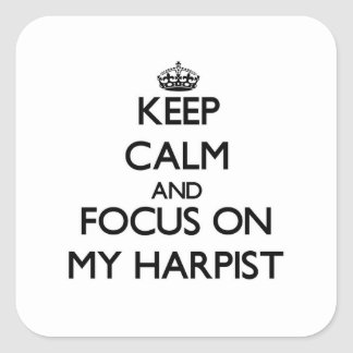 Keep Calm and focus on My Harpist Square Sticker
