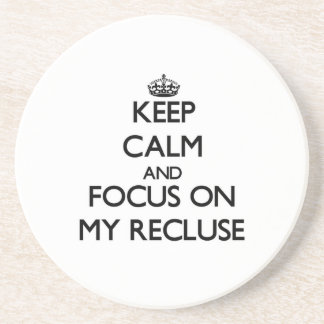 Keep Calm and focus on My Recluse Coasters