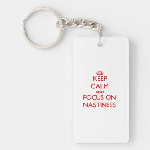 Keep Calm and focus on Nastiness Rectangle Acrylic Keychain