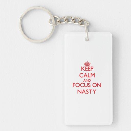 Keep Calm and focus on Nasty Rectangular Acrylic Keychains