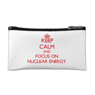 Keep Calm and focus on Nuclear Energy Cosmetic Bag