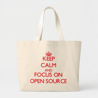 Keep calm and focus on Open Source Tote Bags