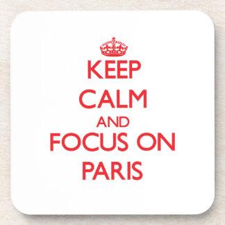 Keep Calm and focus on Paris Beverage Coasters