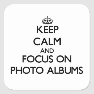 Keep Calm and focus on Photo Albums Square Stickers