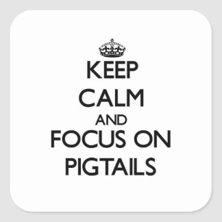 Keep Calm and focus on Pigtails Square Sticker
