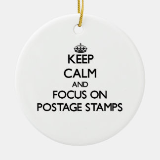 Keep Calm and focus on Postage Stamps Christmas Tree Ornament