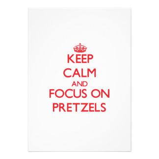 Keep Calm and focus on Pretzels Custom Invitations